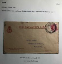 1940 Moradabad India Salvation Army Cover To  Mussorie