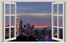 Seattle Skyline Space Needle Window Color Wall Sticker Mural 36x24