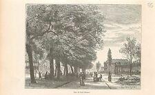 Seven-hour park zeven uur parc de sept heures GRAVURE ANTIQUE OLD PRINT 1880