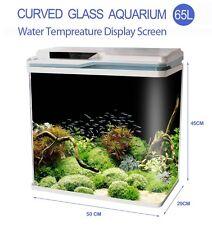 New 65L Aquarium Fish Tank Curved Glass Complete Set Filter Pump LED Light white