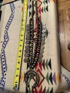 Antique navajo Squash Blossom silver mercury dime necklace over 200 grams 1940's
