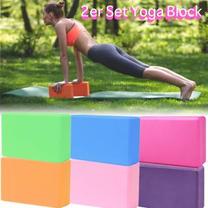 2er Set Yogablock Schaumstoff Yogaklotz Joga Block Pilates Fitness Sport 7 Farbe