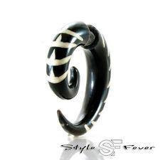 Horn Fake Ohr Piercing - Expander Ohrring Spirale Insekt Tribal weiss