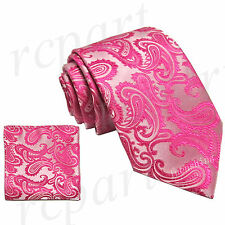 New Brand Q Men's Micro Fiber Paisley Neck Tie & Hankie Set Fuchsia formal