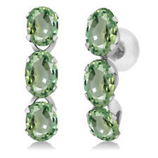 3.30 Ct Oval Green Sapphire 14K White Gold Earrings