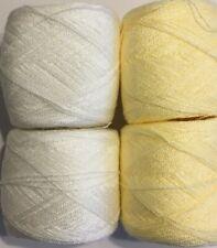 New ListingLace yarn Crystal Colors Yellow/Cream Acrylic/Rayon. 900 yards 1 set of 4