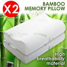 2x Luxury Soft Contour Bamboo Pillow Memory Foam Fabric Fibre Cover Bed AU