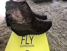 Fly London Burgundy Leather Ladies Yama Boots Size 8 Uk 41 Euro