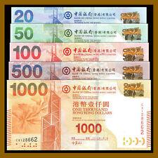 Hong Kong 20 - 1000 (1,000) Dollars (5 Pcs Full Set), 2013-2015 P-341e-345c BOC