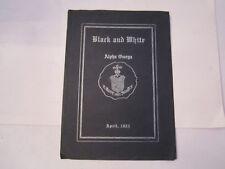 1921 ALPHA OMEGA FRATERNITY BLACK AND WHITE QUARTERLY BOOKLET - TUB QQ