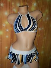 Exotic Dancewear, Pole,Ruffle Skirt &Keyhole Style Top Striped Lycra Spandex S/M