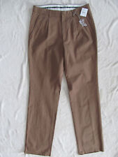 Barbour Pleated Khaki Pants-100% Cotton -Brown-Unfinished Hem -Size 32- NWT $179