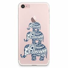 For Apple iPhone 7 Aztec Elephant Clear Transparent Case  (A05) NEW