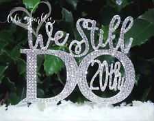 20th Anniversary Vow Renewal Wedding Cake Topper made in Crystal Rhinestones