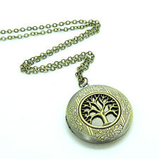 Antique Bronze Life of Tree Picture Photo Locket Necklace Victorian Pendant Gift