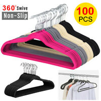 100PCS Clothes Flocked Suit/ Shirt/ Pants Hangers Hook Non Slip Velvet Hangers