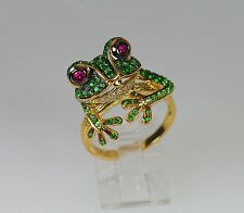 18k INTENSE RUBY GREEN TSAVORITE GARNET WHITE DIAMOND FROG NATURE ANIMAL RING