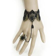 Bracelet femme réglable Dentelle noir Bague doré bronze strass gothique Baroque