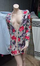 Liu Jo Jeans Stuuning Hip Length Cardigan Beige wth Red &Purple Roses+Gold Cuffs