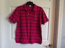 EUC Mens XLG Hollister polo short sleeve shirt. pink/navy stripe, 100% cotton