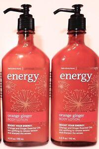 2 BATH & BODY WORKS AROMATHERAPY ENERGY ORANGE GINGER BODY LOTION 6.5oz NEW!