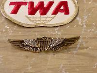 TWA Airlines Remarkably Rare Flight Attendant Anniversary Wings 26 Diamonds Pin