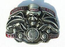 RIDE FREE DIE FREE A WAY OF LIFE Biker Skull Top Hat Belt Buckle