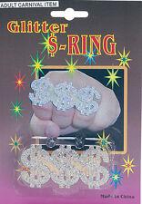 Nouveau big daddy pimp paillettes dollar $anneau déguisement gangster accessoires 1980s