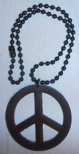 "Leather 2-3/4"" Peace Sign Necklace, BRAND NEW"