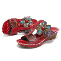 SOCOFY Women Bohemian Genuine Leather Hook Loop Sandals Forest Slip On   *