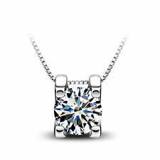 "1CT Diamond Hug S925 Sterling Silver Necklace 18"" Chain Heart Love Gift MOM-NL58"