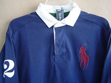 NWT $145 POLO RALPH LAUREN Mens L BIG PONY RUGBY Navy CLASSIC FIT Cotton Shirt