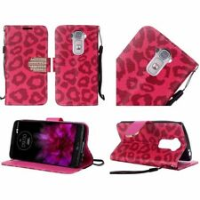 For LG G Flex 2 PU Leather Bling Flip Wallet Cover Case - Hot Pink Leopard