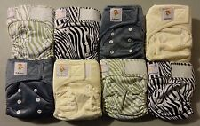 Lot of 8 Kawaii Little Green Baby Bamboo Newborn Pocket Diapers, 2 inserts each