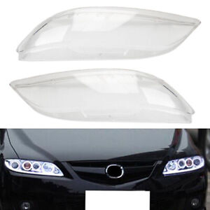 2pcs Car Headlight Headlamp Plastic Clear Lens Cover  Fit For Mazda 6 2003-2008