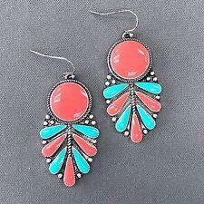 Coral Turquoise Color Petal Design Teardrop Shape Drop Dangle Hook Earrings