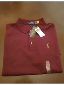 RALPH LAUREN Mens Maroon Long Sleeve Classic Fit Polo S