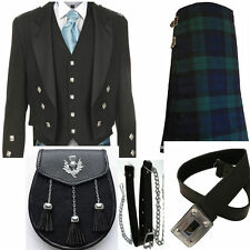Black Prince Charlie Jacket & black watch tartan kilt Wedding Deal Handmade