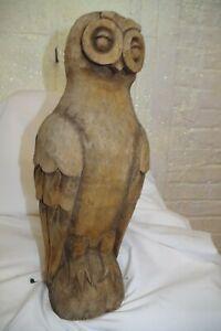 Vintage Antique Hand Carved Owl Figurine Wood Sculpture Folk Art Statue
