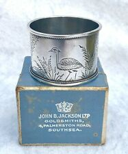 ANTIQUE STERLING SILVER c.1900 BOXED ENGRAVED BIRD & FERN NAPKIN RINGS