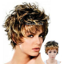 Women's Short Wigs Mix Brown Blonde Synthetic Wig Highlight Hair Natural Look