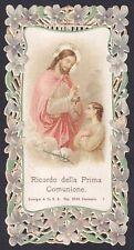 SANTINO 128 PRIMA COMUNIONE HOLY CARD IMMAGINETTA PIZZO LACE EDGED CANIVET