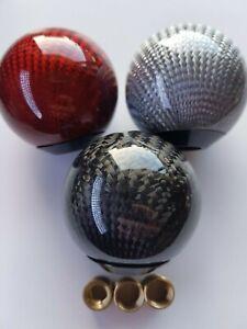 Black/Silver/Red Round Carbon Fibre Design Gear Knob Shift Stick Universal