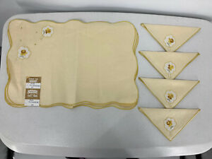 New W Tags Luncheon Set Of 4 Linen Placemats And Napkins