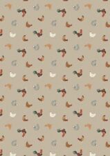 Small Things Farm Chickens Hens Natural Cotton Quilting Sewing Fabric