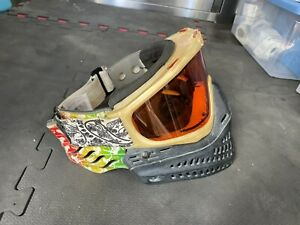 RARE JT White Pearl Pro Flex 7 Spectra Paintball Goggles Mask Amber Lens Retro