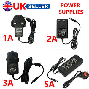 1/2/3/5A 12V POWER SUPPLY ADAPTER AC/DC PSU UK PLUG CCTV CAMERA LED STRIPS