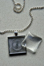"""10 x DIY square silver plated pendant kit - 1"""""""