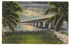 Fl Overseas Highway Bridge Pigeon Key Night Moonlight Vtg Linen Postcard