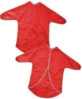 CHILDRENS RED LONG SLEEVE ART & CRAFT APRONS WATERPROOF SMOCKS PAINTING COOKING